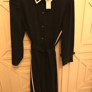 Ann Taylor belted Black Dress with white trim